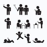 Addiction Obsession Using Smartphone Stick Figure Stock Images