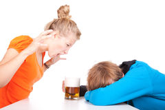 Addiction - problems with alcohol. Drunk men and his girlfriend Stock Photos