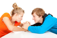 Addiction - problems with alcohol. Drunk men and his girlfriend Royalty Free Stock Photo