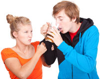 Addiction - problems with alcohol. Drunk men and his girlfriend Stock Image