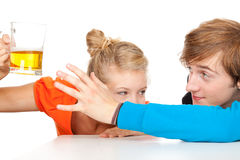 Addiction - problems with alcohol. Drunk men and his girlfriend Stock Photo