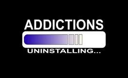 Addiction uninstalling. A black screen with a percentage bar of a going on process about uninstalling addictions Stock Images