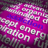 Addiction Word Cloud Means Obsession Craving Royalty Free Stock Image