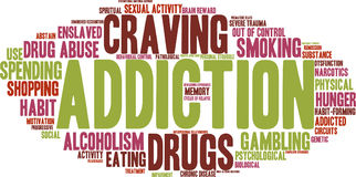 Addiction Word Cloud. Addiction word  cloud on a white background Stock Photo