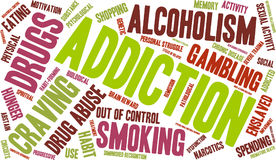 Addiction Word Cloud. On a white background royalty free illustration