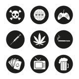 Addictions and bad habits icons set. Crossbones, www, joystick, syringe, marijuana leaf, cigarette, cards deck, tv, beer mug. Smoking and alcohol addiction Stock Photography