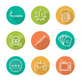 Addictions flat linear long shadow icons set Royalty Free Stock Photography