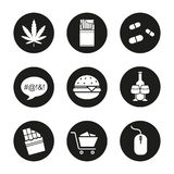 Addictions icons set stock illustration