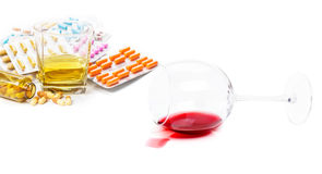 Addictions to alcohol, drugs Royalty Free Stock Image
