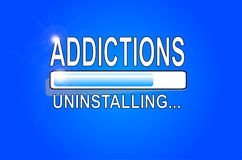 ADDICTIONS Uninstalling - Original. The process of uninstalling addictions is going on and a blue bar shows the status of the process: quite finished Royalty Free Stock Photos