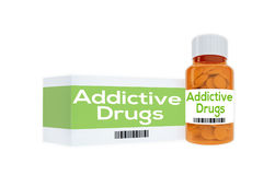 Addictive Drugs concept. 3D illustration of Addictive Drugs title on pill bottle, isolated on white Royalty Free Stock Photo