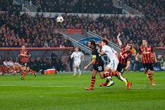 Addictive game players Shakhtar Donetsk and Bayer  Stock Photo