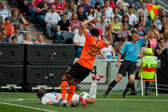 Addictive game between the teams moment FC Shakhtar Donetsk and Bayer Leverkusen Stock Images