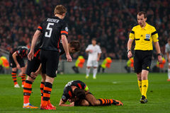 Addictive game between the teams moment FC Shakhtar Donetsk and Bayer Leverkusen Royalty Free Stock Photography