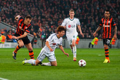 Addictive game between the teams moment FC Shakhtar Donetsk and Bayer Leverkusen Royalty Free Stock Photos