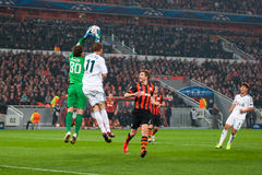 Addictive game between the teams moment FC Shakhtar Donetsk and Bayer Leverkusen Royalty Free Stock Images