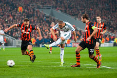 Addictive game between the teams moment FC Shakhtar Donetsk and Bayer Leverkusen Stock Photos