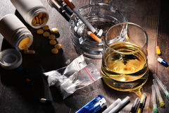 Addictive substances, including alcohol, cigarettes and drugs.  Stock Image