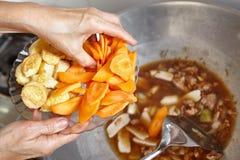 Addieren der Karotte und des Tofus Stockbild