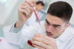 Addieren der Tropfenchemikalie Lizenzfreies Stockfoto