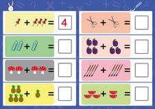 addieren Sie den Gegenstand und schreiben Sie die korrekte Antwort Stockbilder