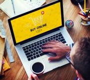 Addieren Sie Warenkorb-Kauf-jetzt on-line-Handels-Grafik-Konzept Stockbild