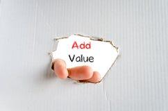 Addieren Sie Werttextkonzept Lizenzfreies Stockfoto