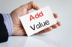 Addieren Sie Werttextkonzept Lizenzfreie Stockbilder