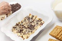 Addieren von Schokoladensplittern und von Nüssen Lizenzfreie Stockfotos