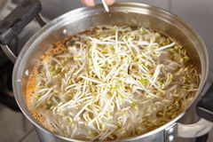 Adding bean sprout to the soup Stock Photography