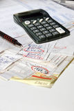 Adding bills vertical Stock Photography