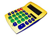 Adding machine - calculator. Yellow calculator on white background stock images