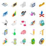 Adding machine icons set, isometric style. Adding machine icons set. Isometric set of 25 adding machine vector icons for web isolated on white background Royalty Free Stock Photography
