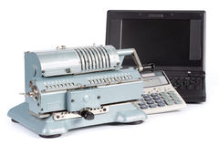 Adding machine, modern calculator and notebook Royalty Free Stock Images