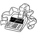 Adding machine sketch. Doodle style adding machine or tax accounting sketch in  format Royalty Free Stock Photos