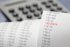 Adding machine tape Stock Photography