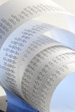 Adding machine tape Stock Photo