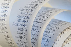 Adding machine tape Royalty Free Stock Images