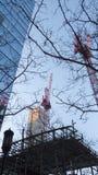 Adding more Boston skyline. BOSTON, MASSACHUSETTS - FEBRUARY 18, 2016: Ongoing construction at One Seaport Square near Boston Harborwalk royalty free stock image