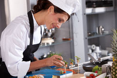 Adding some garnish. Attractive young female chef adding some garnish to the amuse Royalty Free Stock Photos