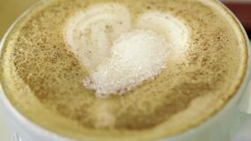 Adding sugar to cup of coffee food Stock Video.