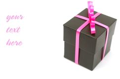 Adding text with black gift. Black gift with extra space in text decoration Stock Photos