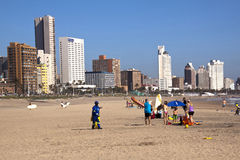 Addington Beach Against City Skyline in Durban, South Africa Royalty Free Stock Photo