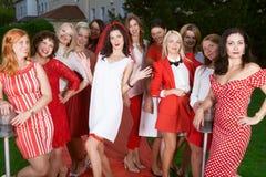Addio al nubilato: bianco e rosso immagini stock