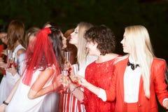 Addio al nubilato: bianco e rosso immagine stock libera da diritti