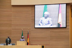 Chairperson of the AUC gives welcome speech Stock Photos