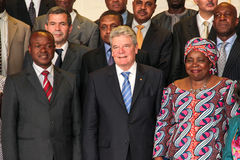 German President with AU Chairperson and Deputy Chairperson royalty free stock photos