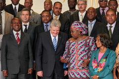 German President  with AU Chairperson and senior officials Stock Images