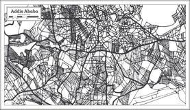Addis Ababa Ethiopia City Map i Retro stil skisserar kartlägger stock illustrationer