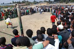 Addis Ababa, Ethiopia: Crowd following a penalty kick betting game stock images